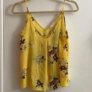 Yellow floral print crop top
